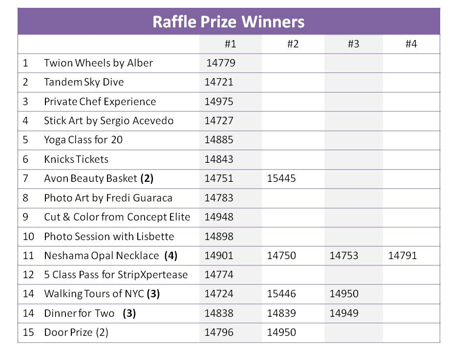 Raffle Prize Wnners 2016